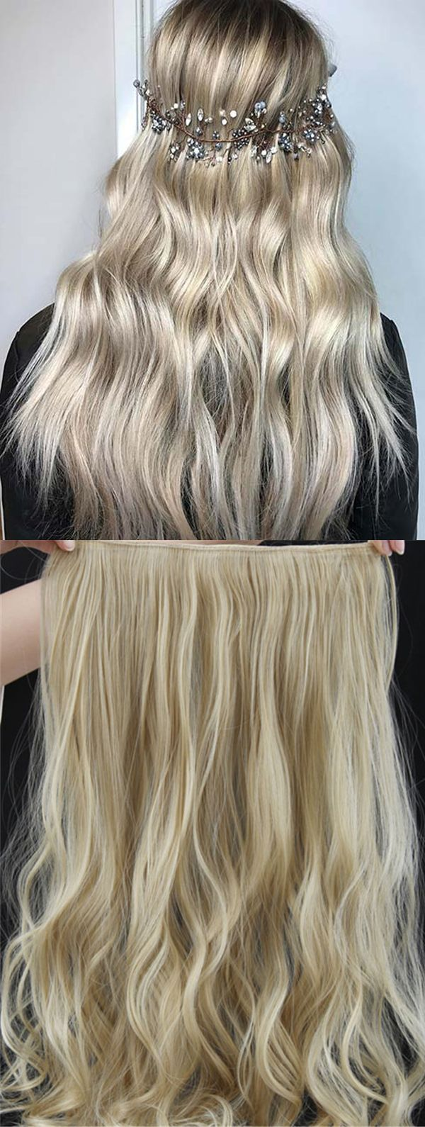 22tm613 Mix Color Long Wave One Piece Clip In Hair Extension 24