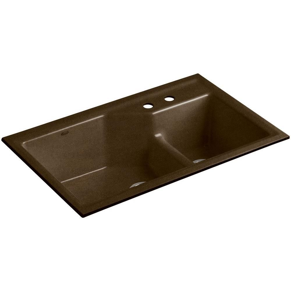 Kohler Indio Smart Divide Undermount Cast Iron 33 In 1 Hole