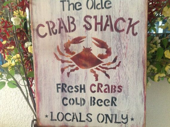 The Olde Crab Shack, Primitive Wood Sign, Home Decor