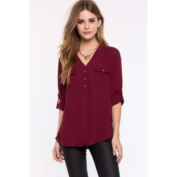 Dark Red V Neck Front Pocket Chiffon Shirt ($24) ❤ liked on Polyvore featuring tops, v neck collared shirt, chiffon top, front pocket shirt, chiffon shirt and v neck button shirt