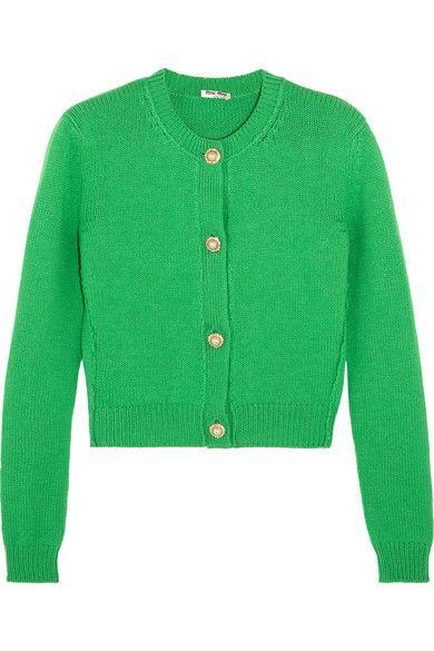 fa51ead411c0 MIU MIU Cropped Embellished Cashmere Cardigan.  miumiu  cloth  knitwear