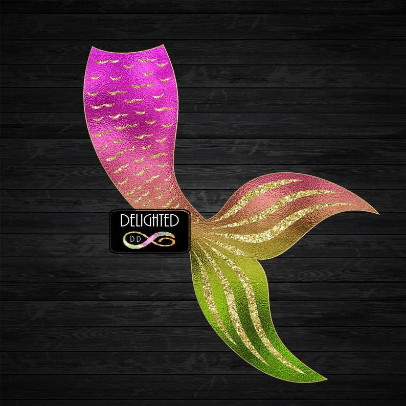 Mermaid Tail Clipart Gold Scales Glitter Clip Art Summer Etsy Clip Art Summer Sticker Mermaid Tail