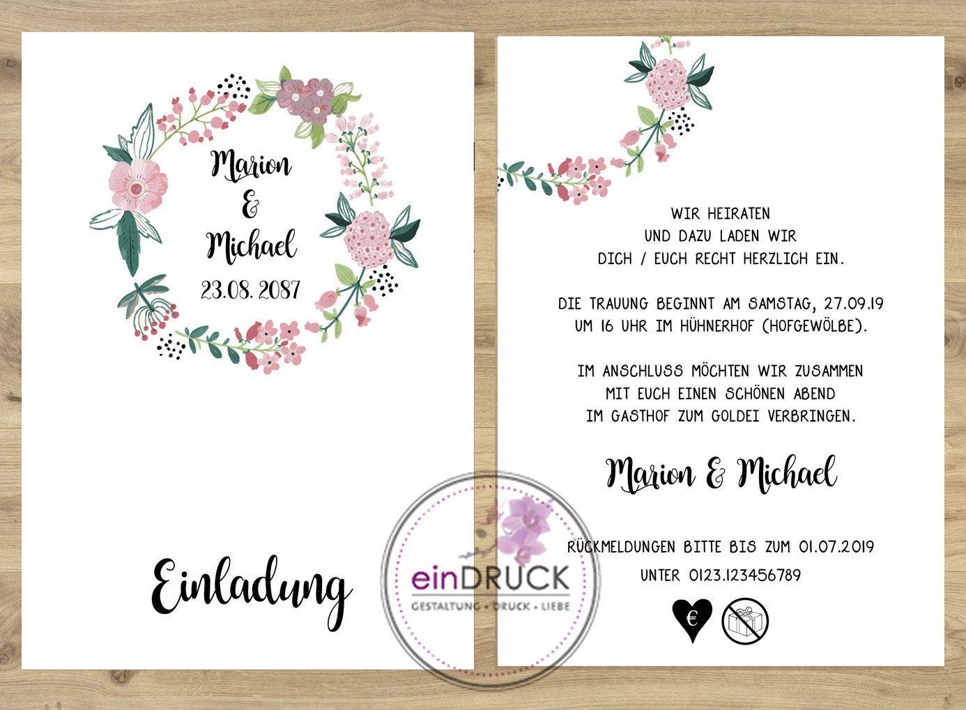 Hochzeitseinladung Einadungen Zur Hochzeit Blutenkranz Etsy Hochzeitseinladung Einladungen Karte Hochzeit