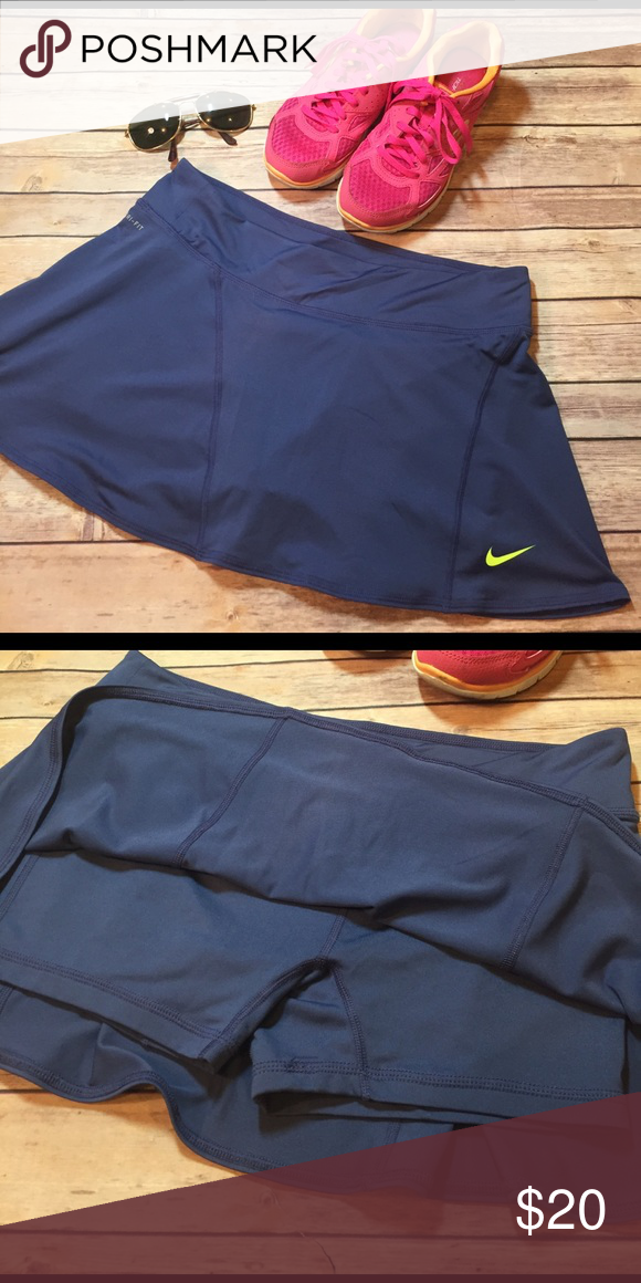 Like New Nike Running Skort Dri-fit like new Nike Running skort, perfect condition, purplish blue color, shorts underneath 😍 Nike Shorts
