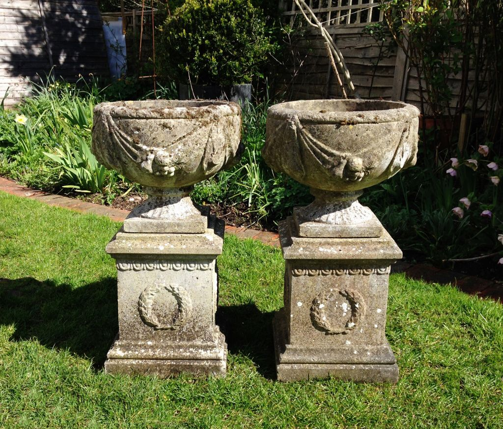Pair Of Goblet Urns And Pedestals In From The Vintage Garden Company Vintage Garden Urn Goblet