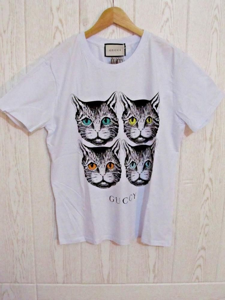 67231149 Gucci Angry Cat White T shirt size L #Gucci   Gucci t shirts for ...