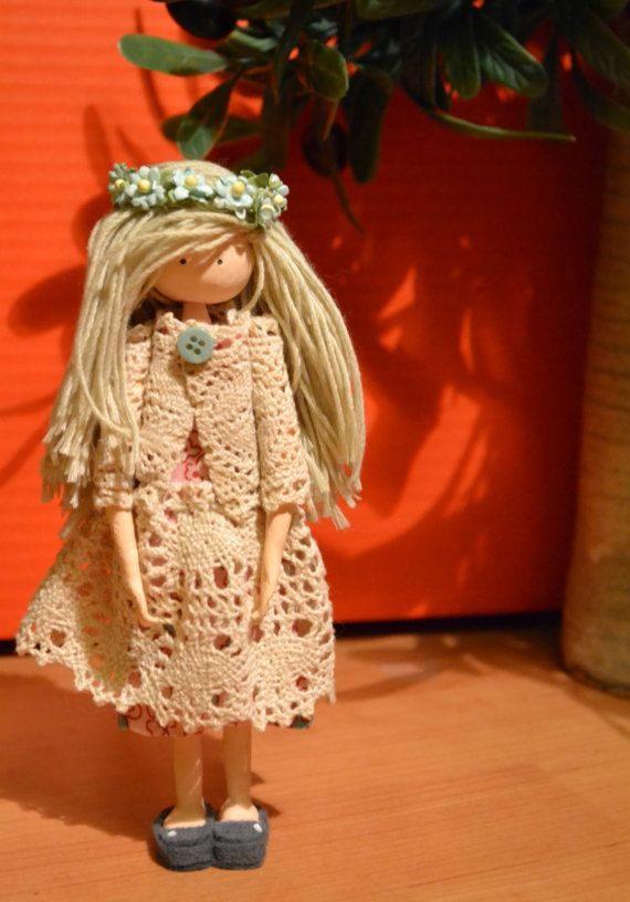 Art doll, clay doll, handmade, doll with long blond hair, flower crown doll