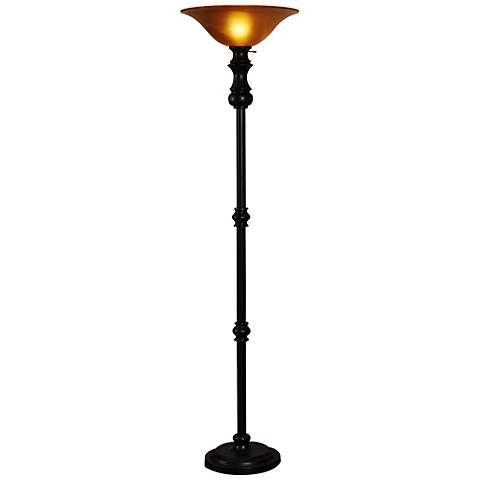 Gainesburgh Bronze and Amber Glass Torchiere Floor Lamp | Products ...