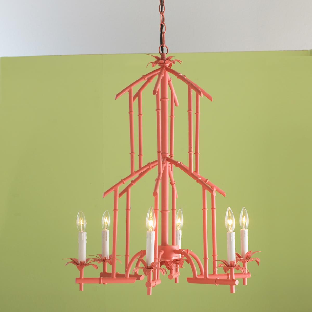 Bamboo Tower Chandelier - 6 Light (6 colors) -Light Fixture for ...