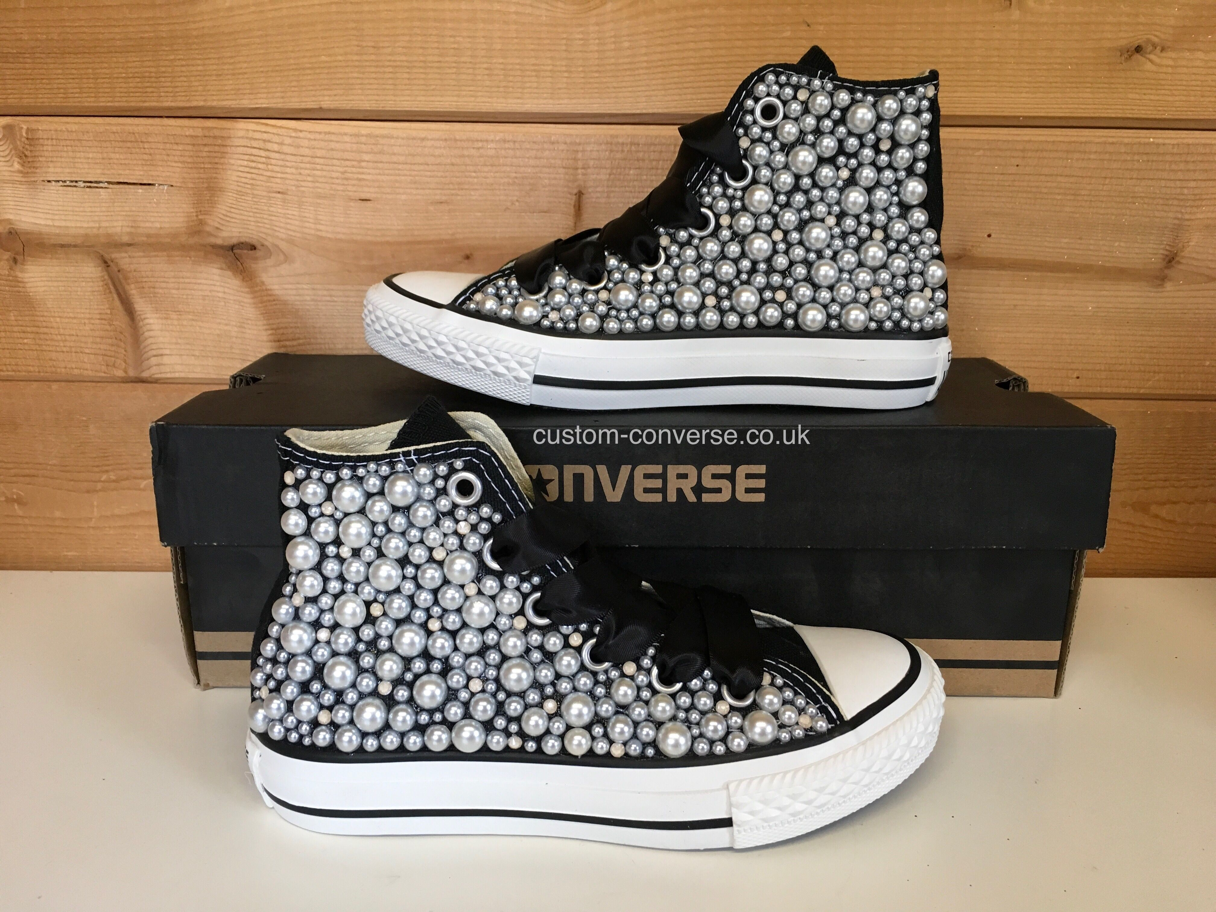 ed2aab9415d166 Kids mixed pearl and crystal covering on black high tops  converse   customconverse  wedding  weddingconverse  alternative  kidsshoes  fashion