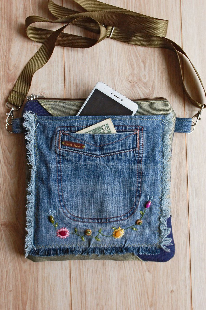 Hippie Jeans Crossbody Purse with Floral Embroidery, Over the Shoulder Bag for Women, Recycled Denim Festival Travel Pouch