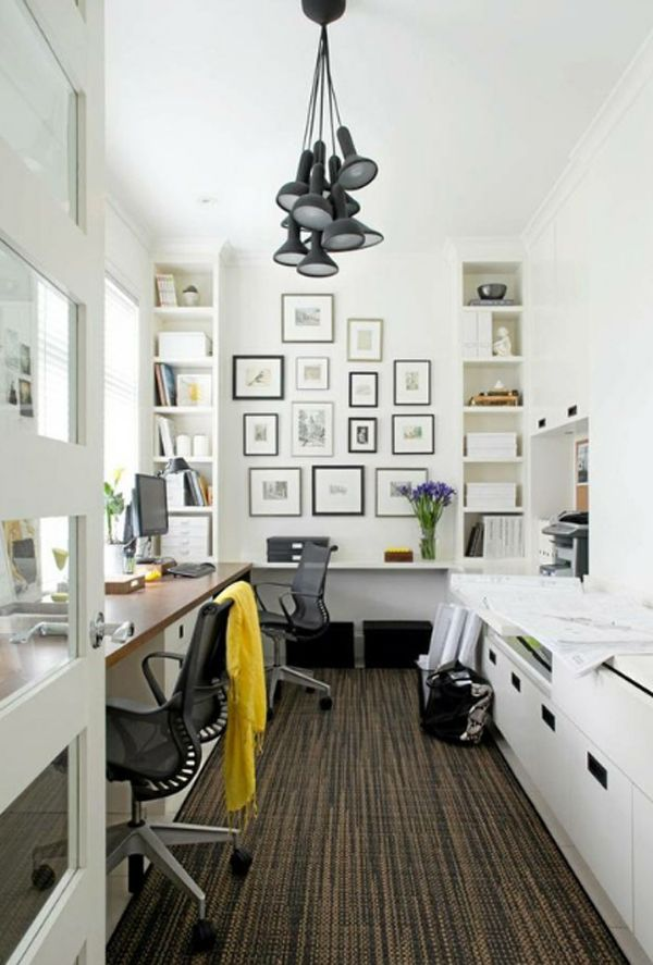 Small Home Office With Bookshelves, Black And White Frame Collage