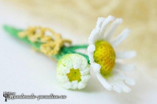 ромашки крючком схемы вязания вязаный декор листочки цветочки