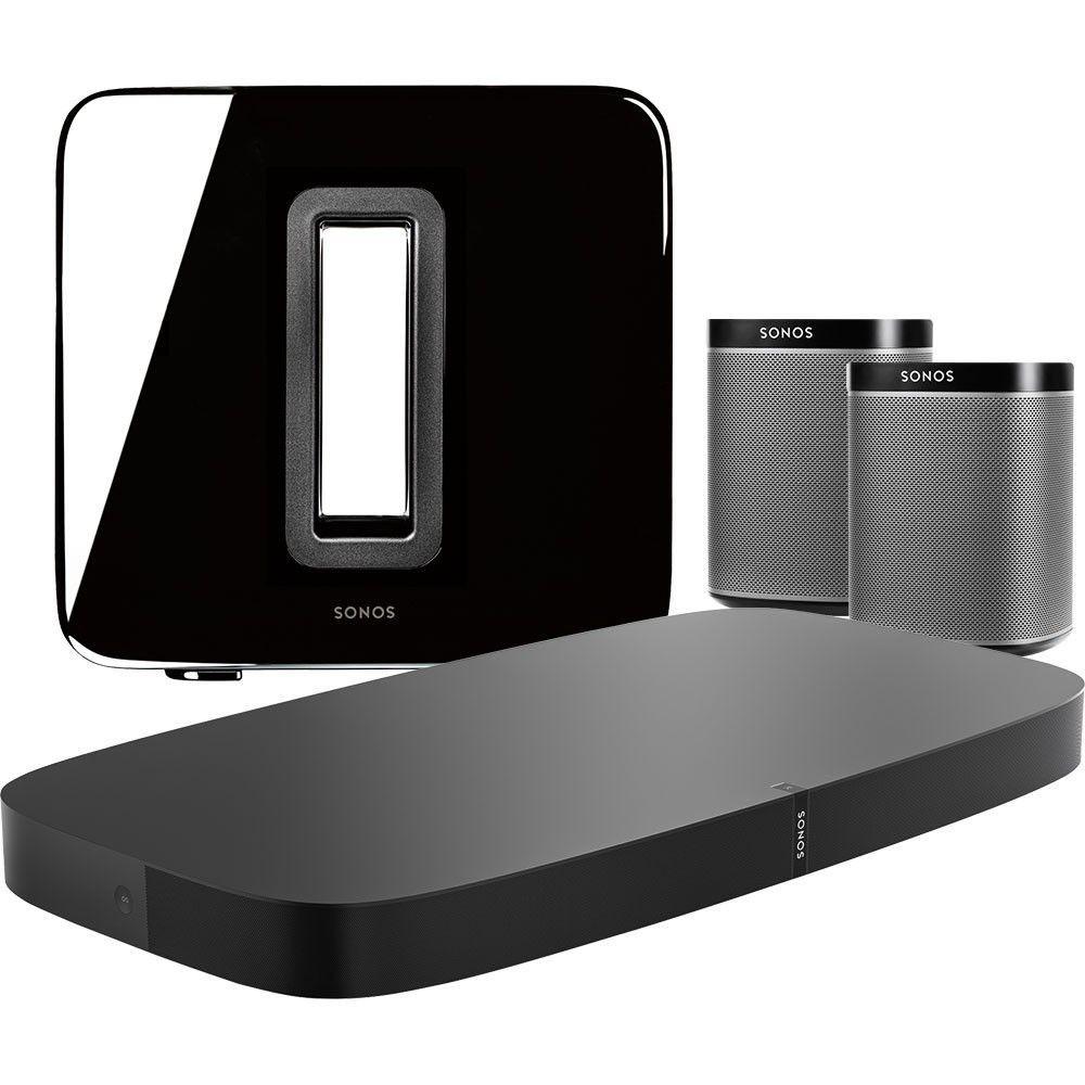 Sonos - Two PLAY:1 Speakers (Black), PLAYBASE (Black) & SUB (Black