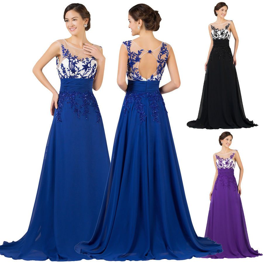 Long appliques evening prom ball gown party cocktail pageant