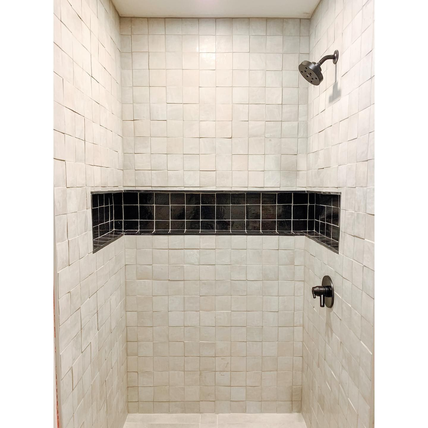 Plenty Of Room From Product With This Wrap Around Shower Niche Love The Contrast Of The Zellige Tiles Iconic Styling Shower Niche Tiles Direct Cement Tile