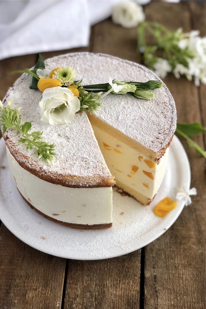 Klassische Käse Sahne Torte mit Pfirsichen - Lissi's Passion #peachcake
