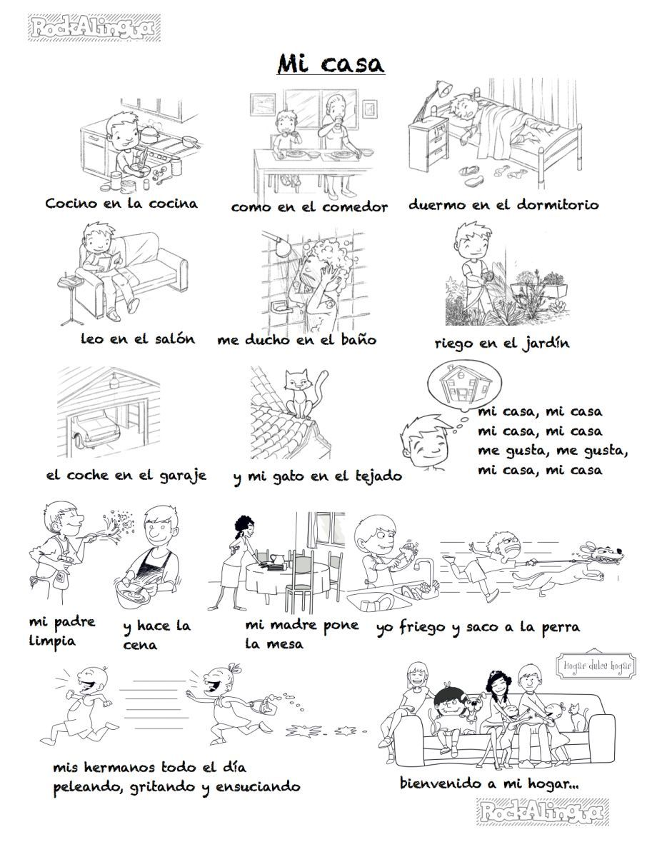 Rooms of the house family members and household chores in spanish song for older kids