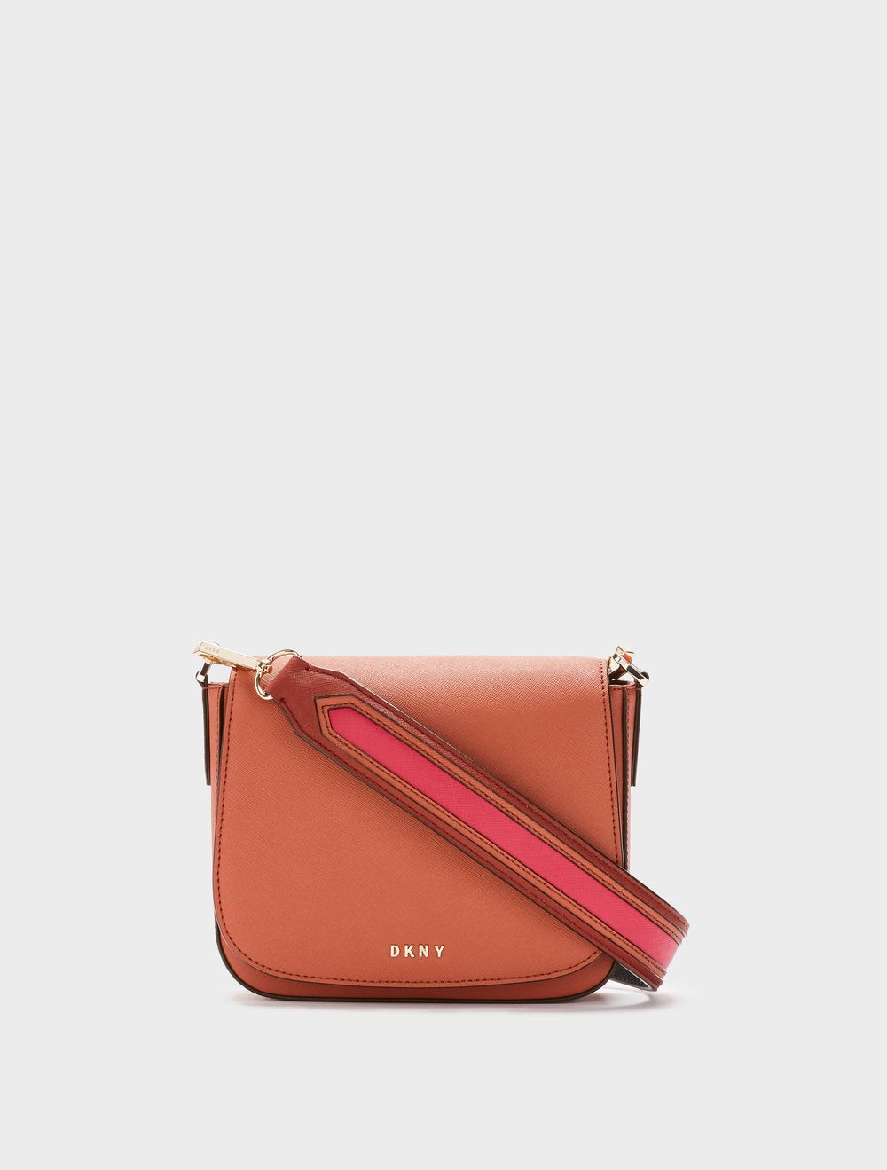 65f317b8ebc Terracotta leather Saffiano Contrast Strap Crossbody from DKNY. Dkny Bags,  Online Clothing Stores,