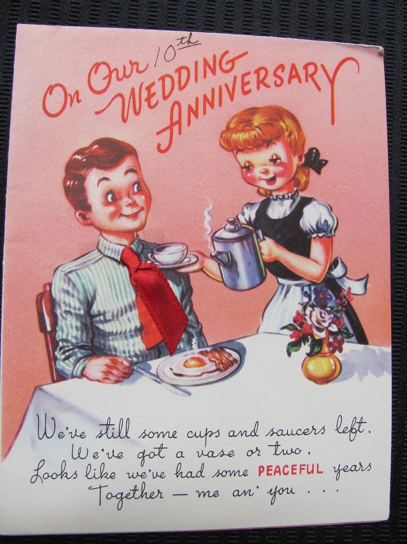 Vintage Antique Retro Greeting Card Circa 1950s 10th Anniversary