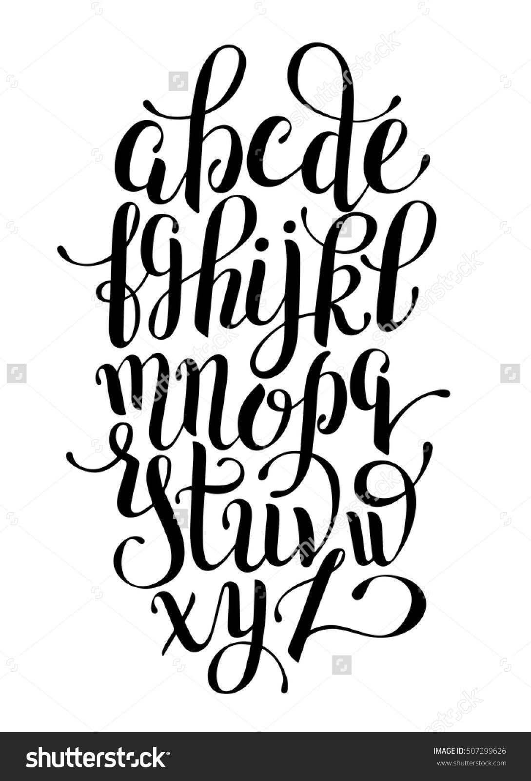 Black And White Hand Lettering Alphabet Design Handwritten Brush Script Modern Calligraphy Cursive Font Vector Illustration