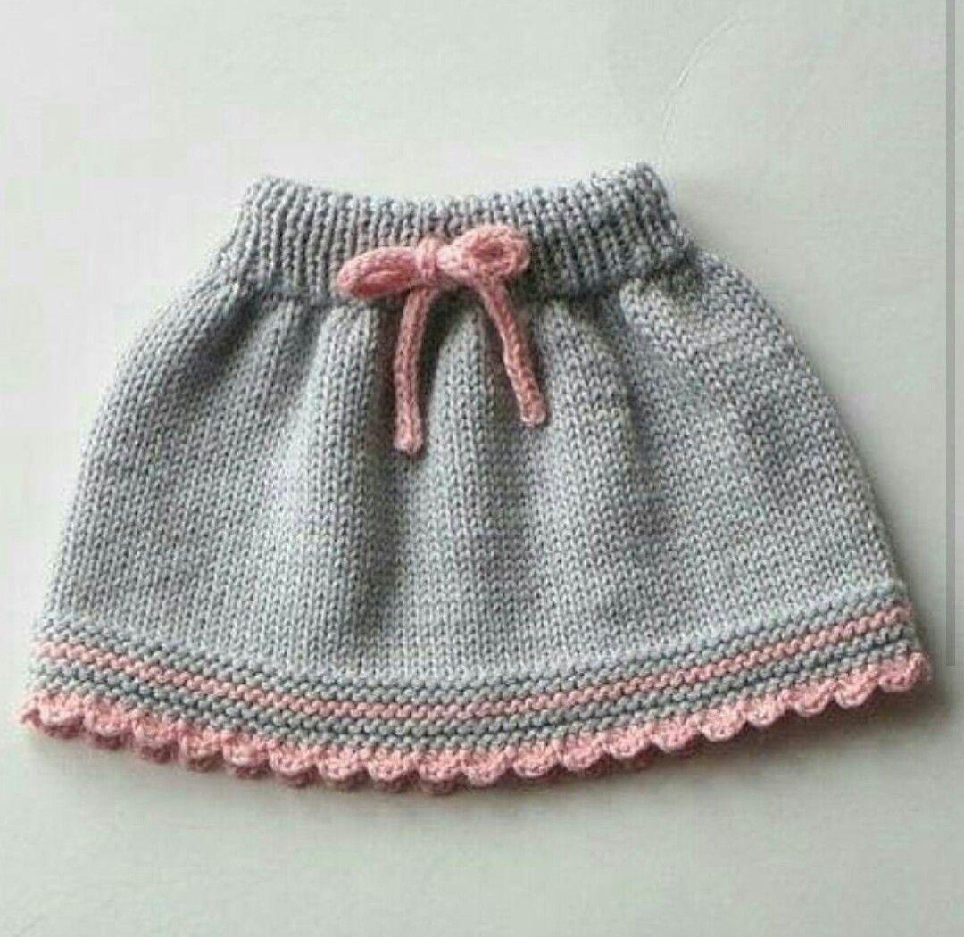 hand knit grey toddler\'s skirt w pink detail by Bente Hauge ...
