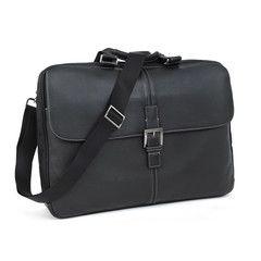 "Leather Bag :: ""Tyler"" Tumbled 17"" Dispatche Slim Brief in Black #boconi"