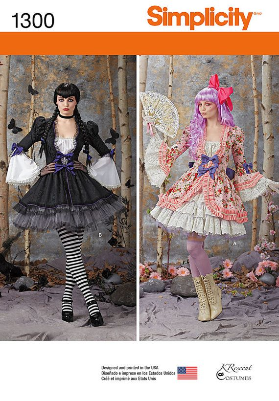 Simplicity Sewing Pattern 1300-Gothic Lolita Dress Size 6-12 ...