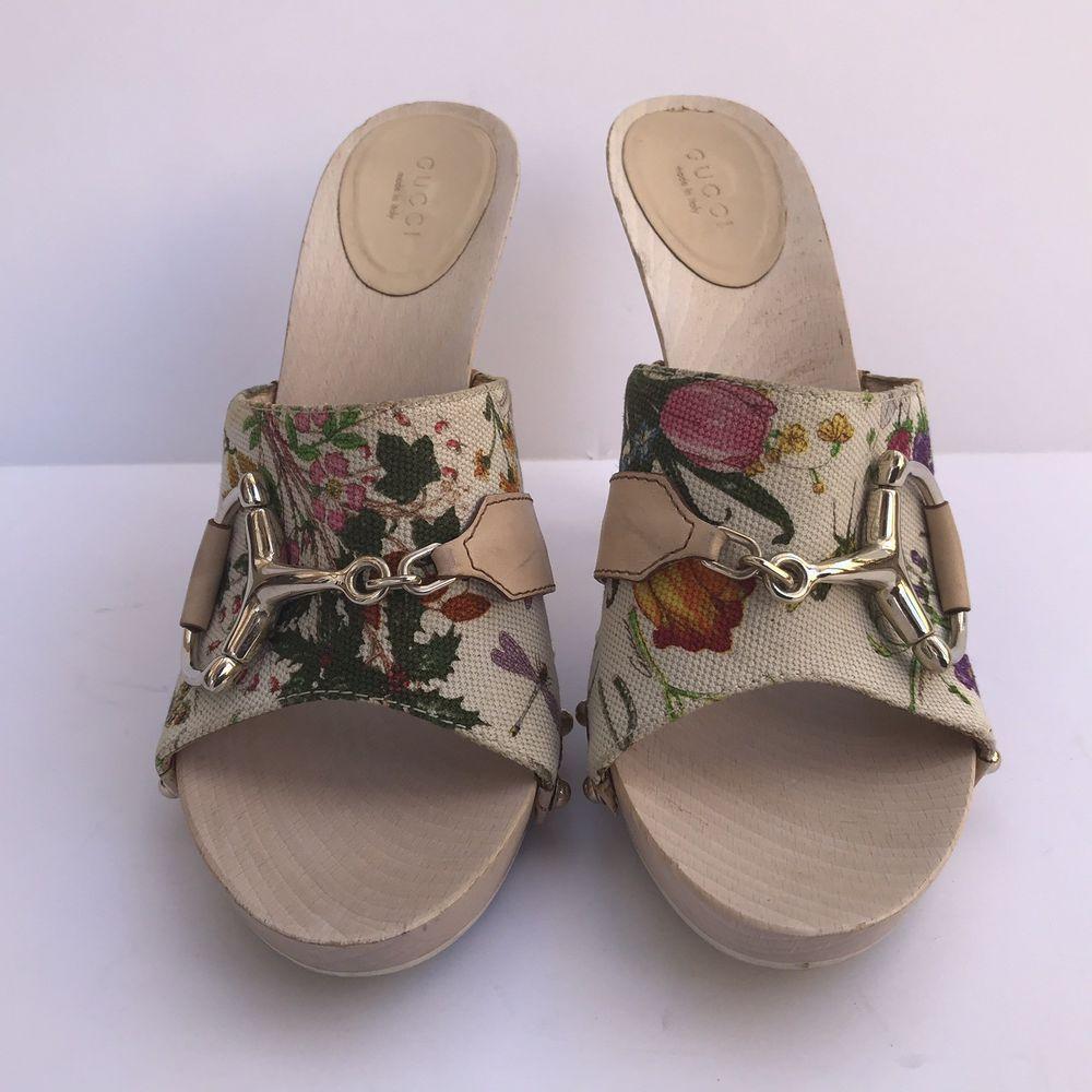 4c10e5980c4 Gucci Womens Flora Horsebit Shoes Heels Slides Size 8.5