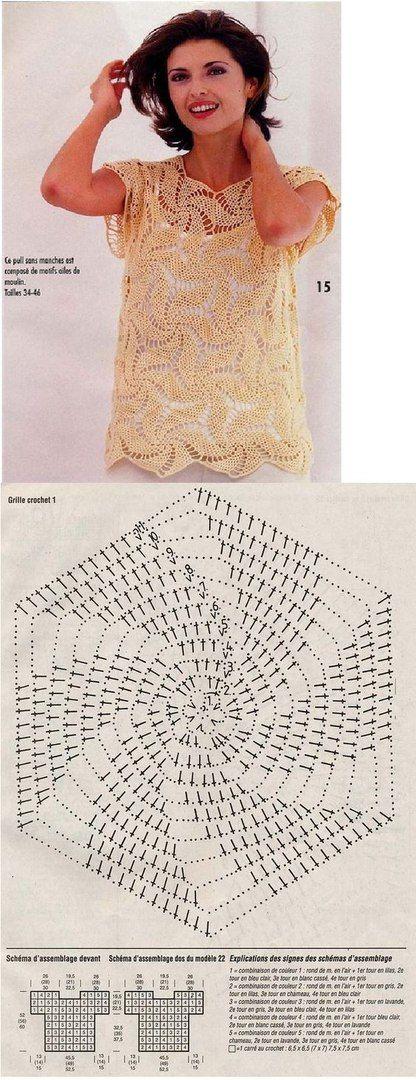 Вязание крючком. платье, топ, блузка. вязаное крючком ...