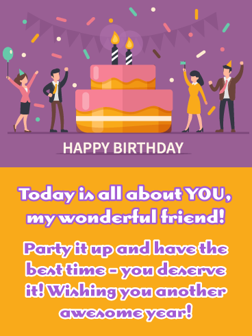 Purple Party Happy Birthday Wish Card For Friend Birthday Greeting Cards By Davia Happy Birthday Wishes Cards Happy Birthday Quotes For Friends Happy Birthday Wishes Messages