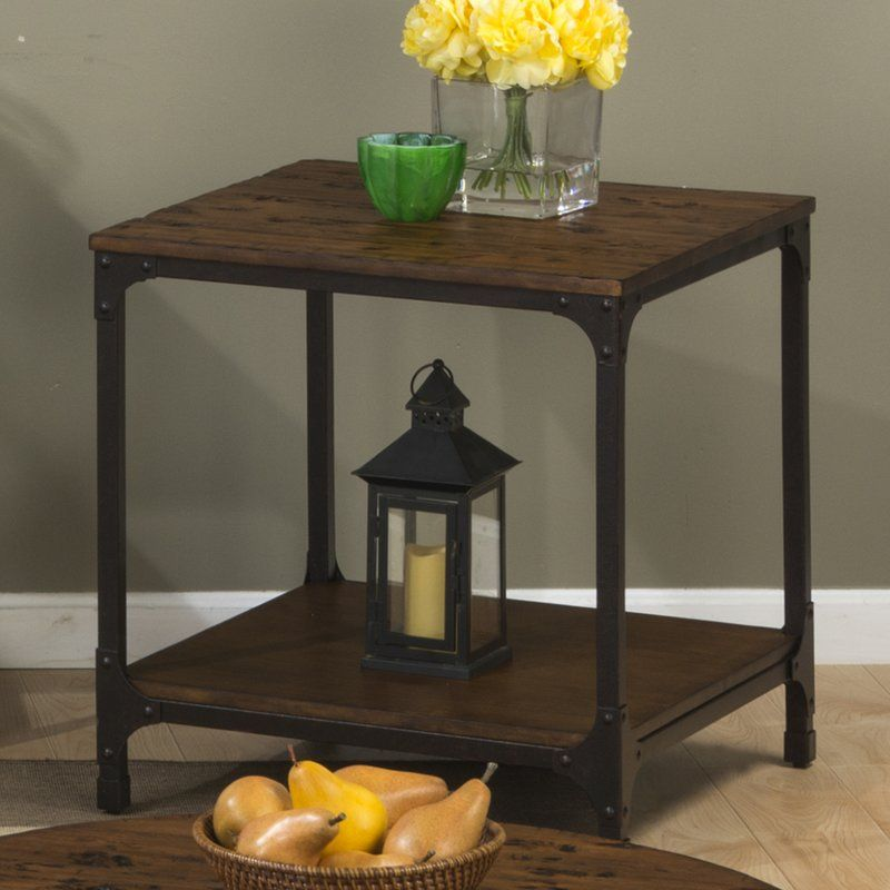 Carolyn end table with storage solid wood coffee table