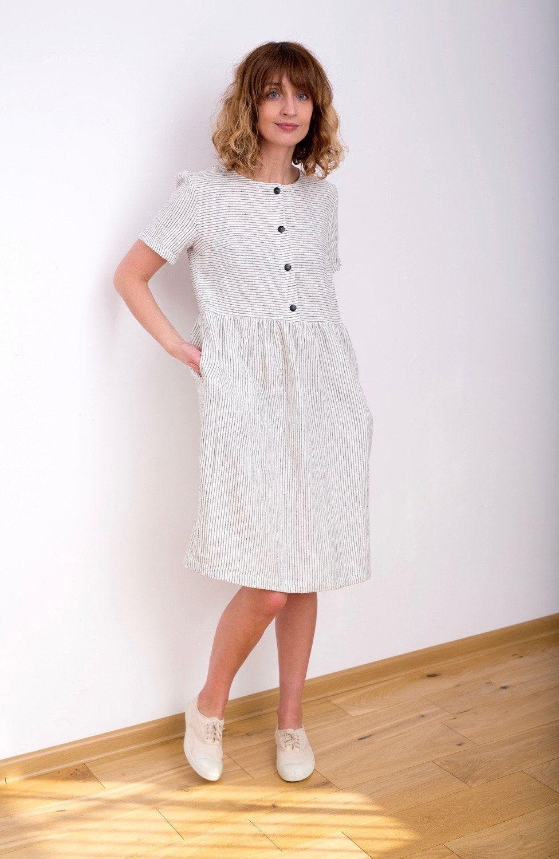 145518ed6515f Linen Dress - Striped Linen Dress - Organic Linen Dress - Linen ...