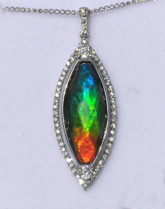 02e411be0 Lantern shape CZ faceted ammolite pendant | Ammolite & Korite ...