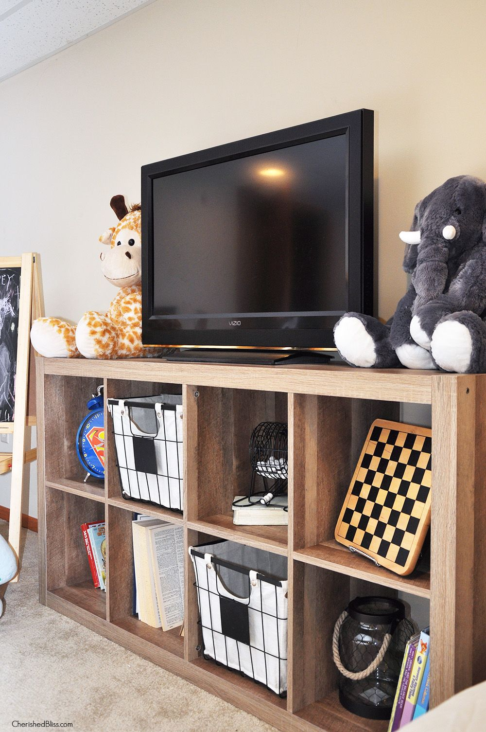 Playroom Progress Rustic Media Stand Cherished Bliss Kids Tv Room Bedroom Tv Stand Playroom Furniture
