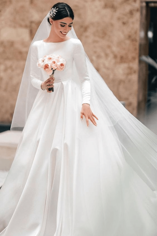 10 Cinderella Wedding Dresses For A Happily Ever After Society19 In 2020 Long Sleeve Satin Wedding Dress Wedding Dresses Satin Wedding Dress Long Sleeve