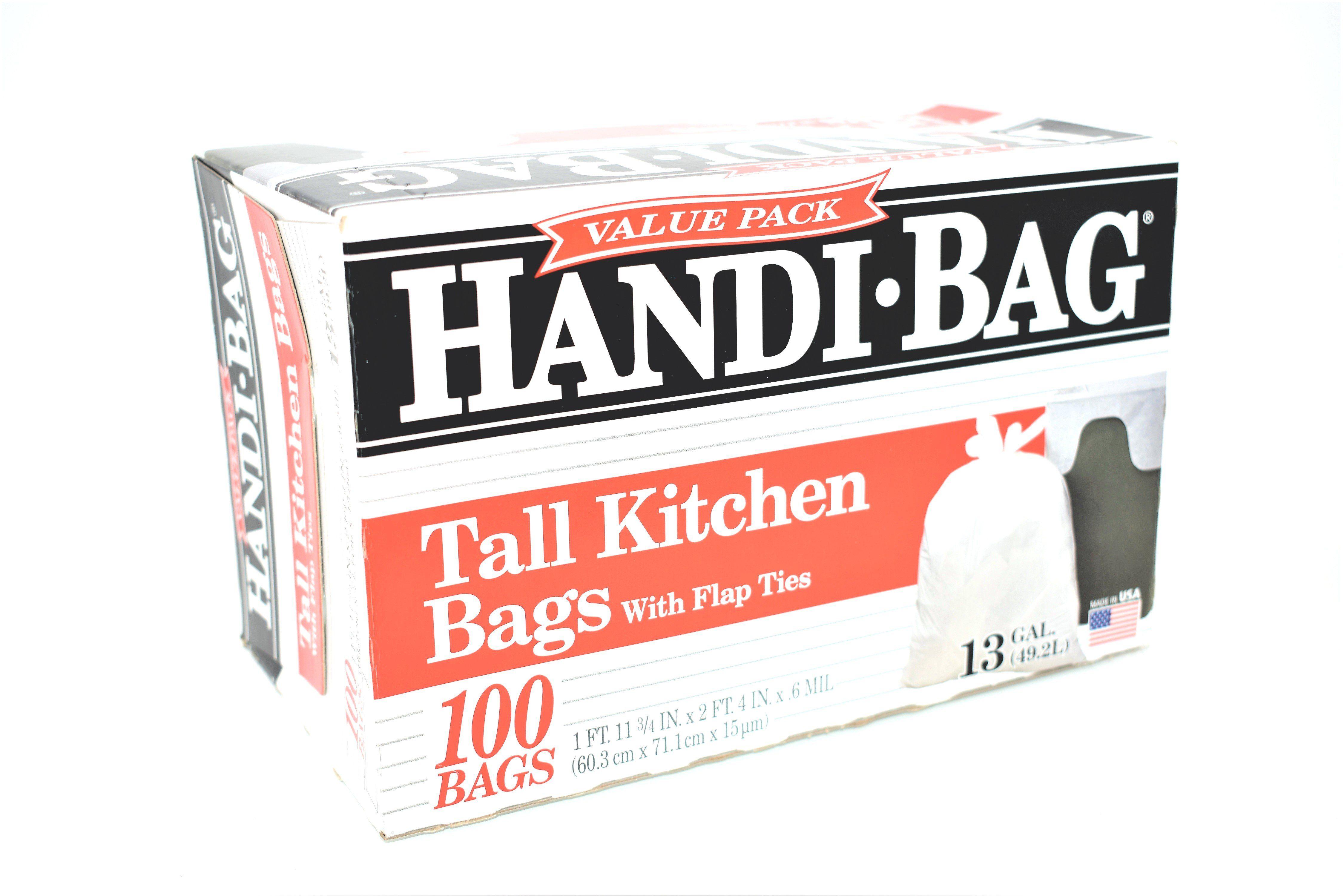 Handi-Bag 13 Gallon Tall Kitchen Bags w/ Flap Ties. 100 ct ...