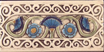 floral scroll ceramic border tile, hand-painted on brown-tone ...