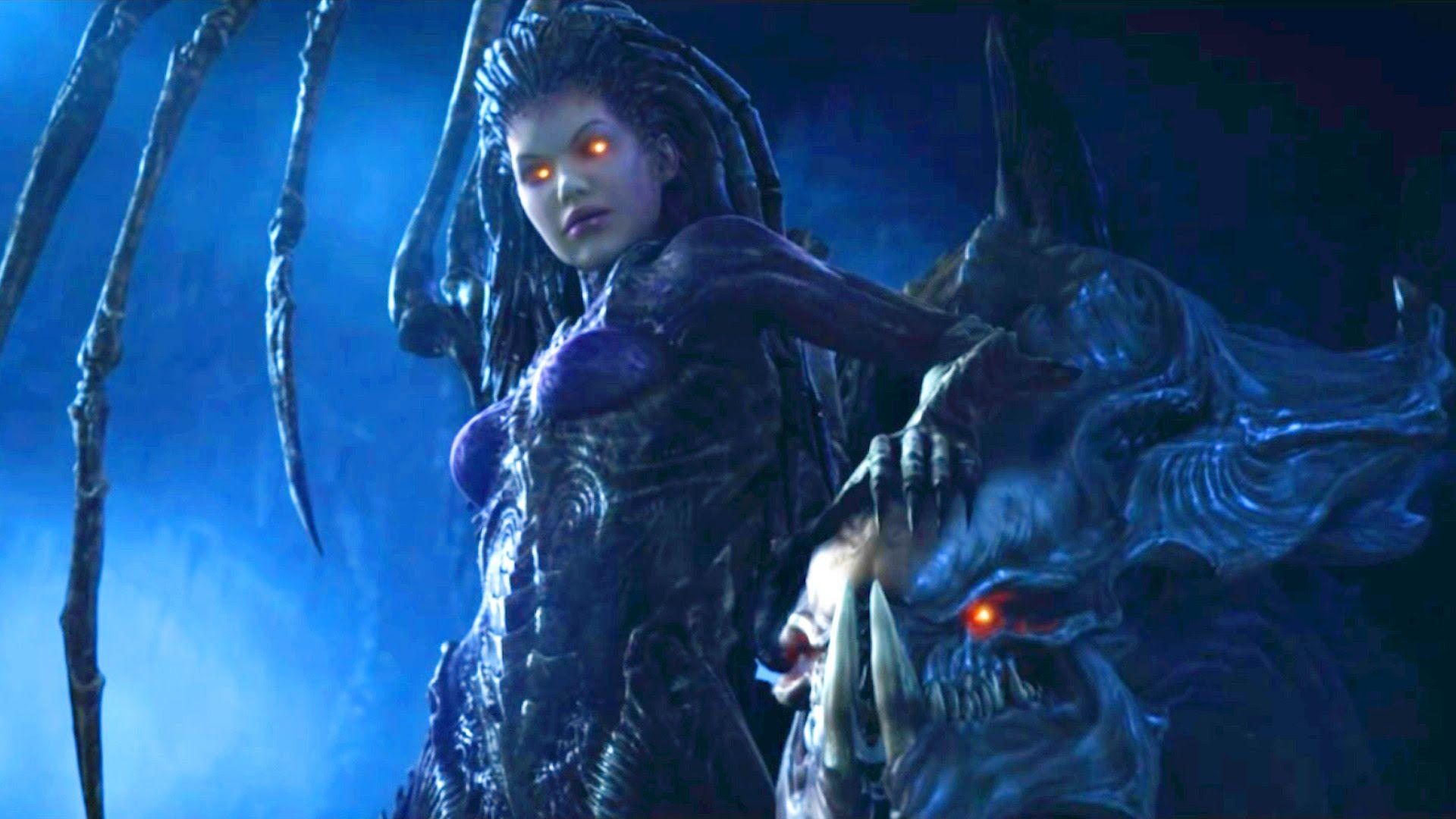 Zeratul vs Kerrigan. Protoss and Zerg Queen in Temple