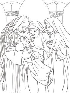 Zechariah Elizabeth And Baby John The Baptist Coloring Page From