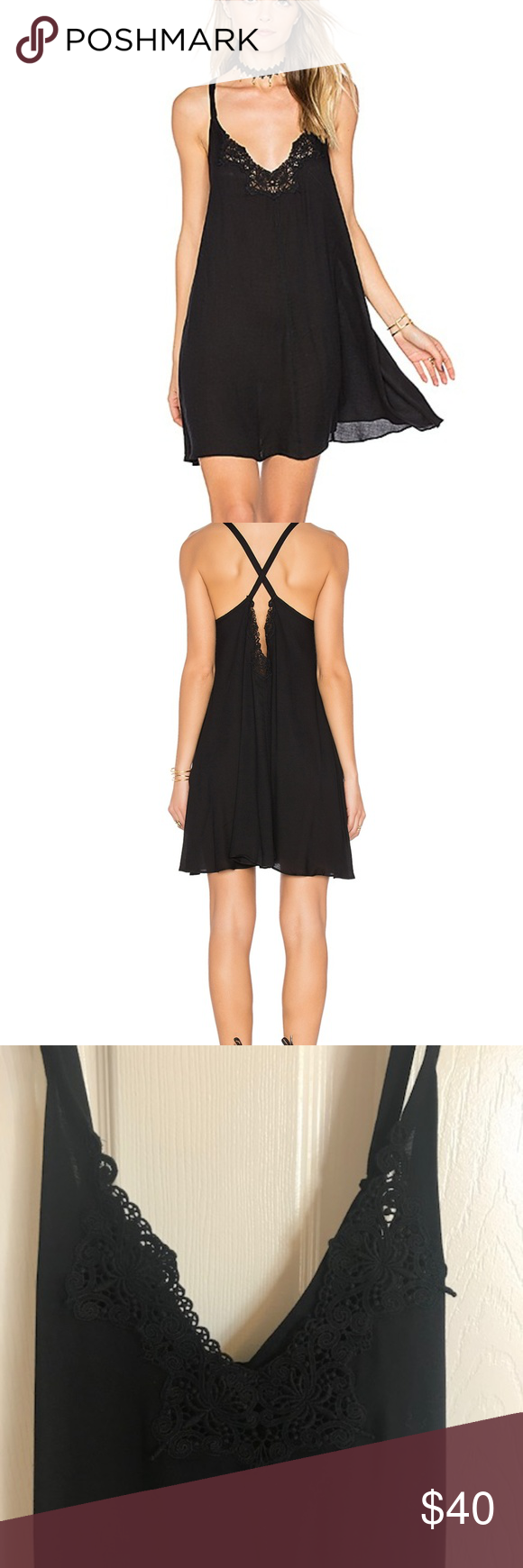 af755d000a4181 Free People Kendall Trapeze Slip Dress - Black New with tags
