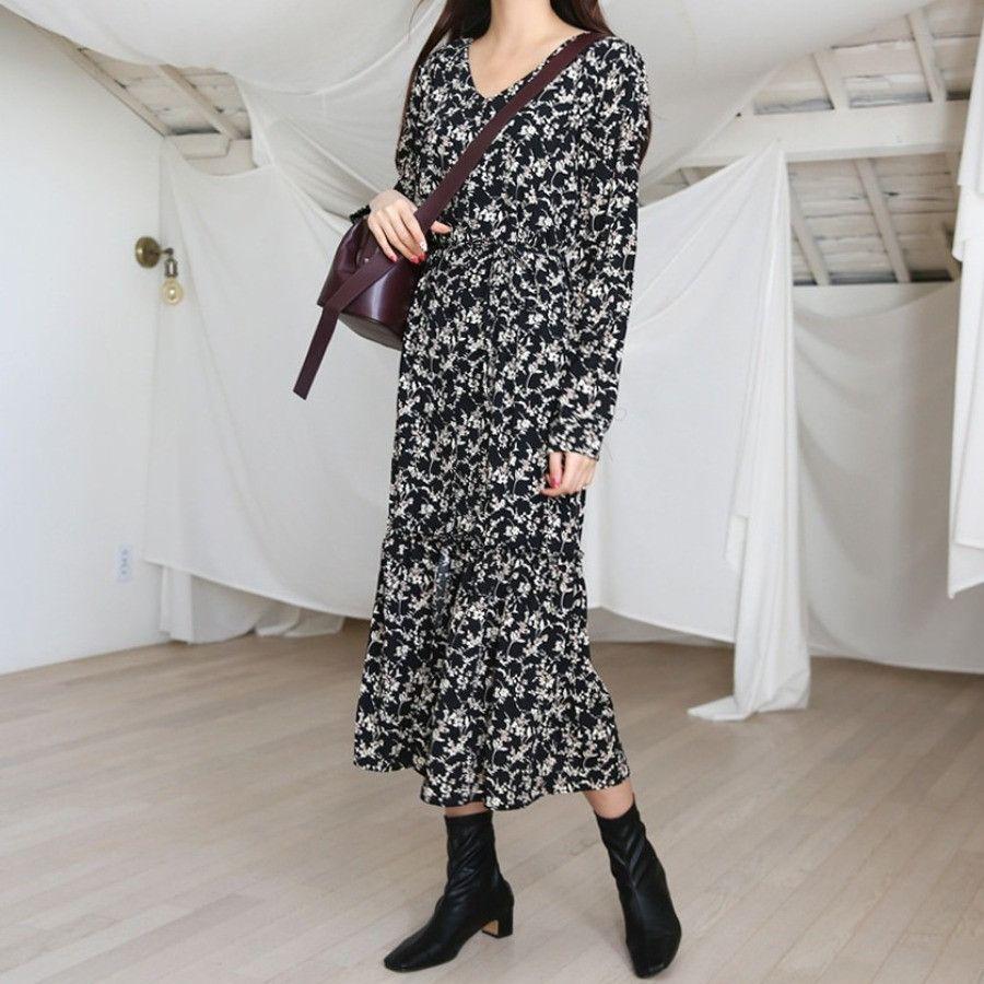 Ruffle Hem Floral Dress SKU #P000EWJO