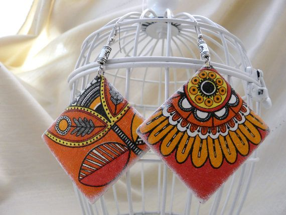 India earrings, Summer Party Earrings, Big Ethno Earrings, Hipster Earrings, Orange Rhombus Earrings