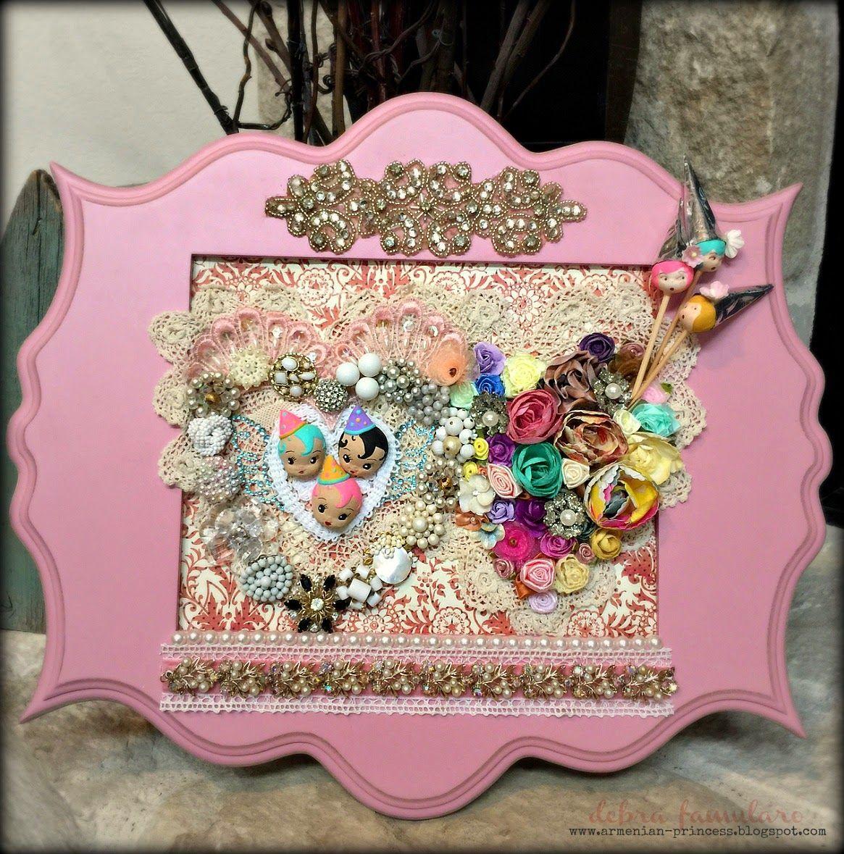 Materials List: pink wood frame (Hobby Lobby) various flowers ...