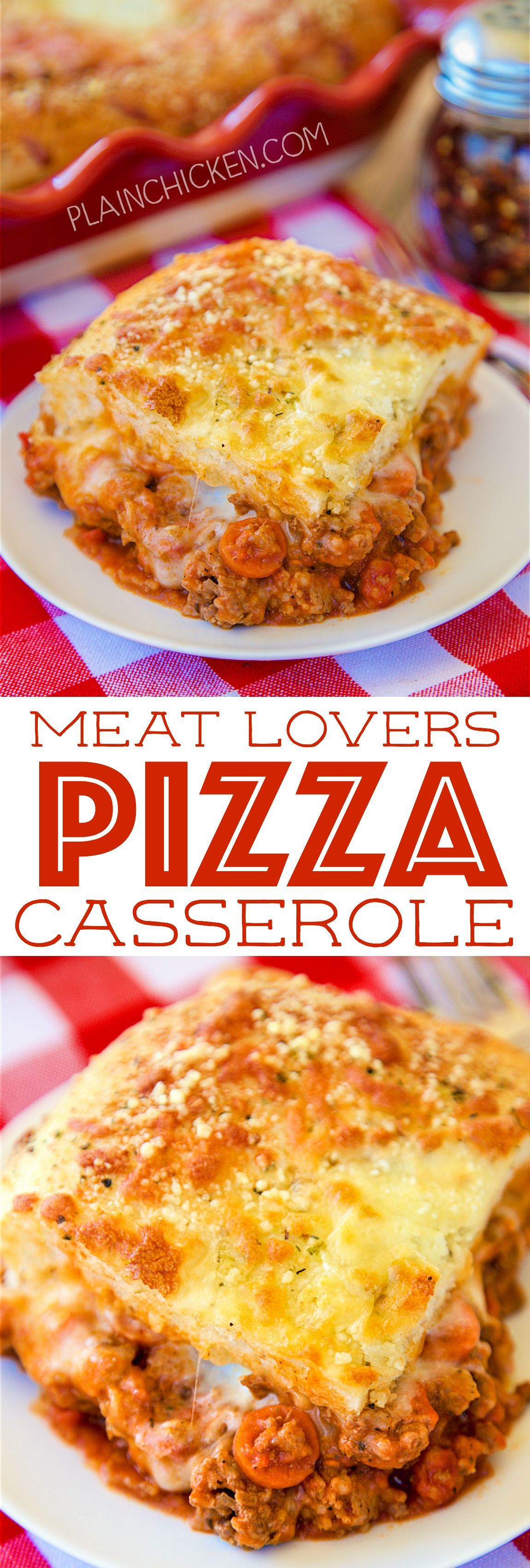 Meat Lovers Pizza Casserole A Family Favorite Lean Ground Beef Sausage Pepperoni Pasta Sauce Mozzarella Chee Meat Lovers Pizza Pizza Casserole Recipes