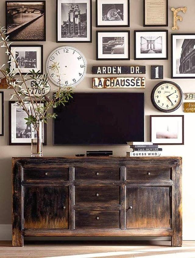 10 Ideas para colgar cuadros alrededor de la TV | Pinterest | Colgar ...