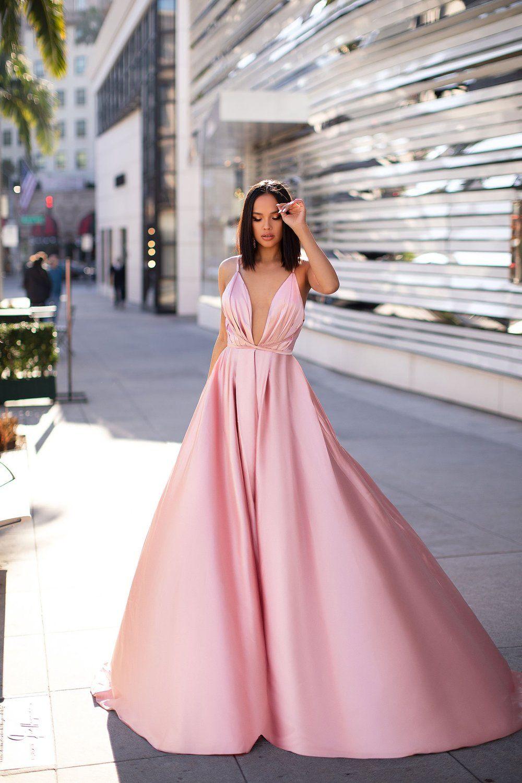A&N Luxe Ayana Satin Gown Baby Pink | Ballkleid, Kleider