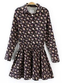 Corduroy Lapel Floral Dress