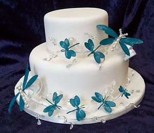 Wedding Celebration Dragonfly Cake Toppers Set Of 2 Blue Green Ivory Red Lilac