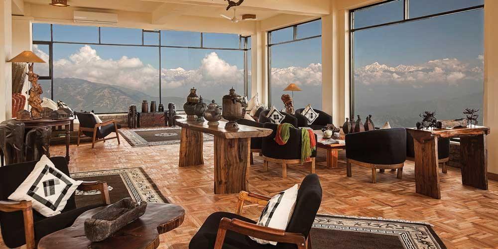 The Gol Lok Dham Tea Lounge offers panoramic views of the Himalayas